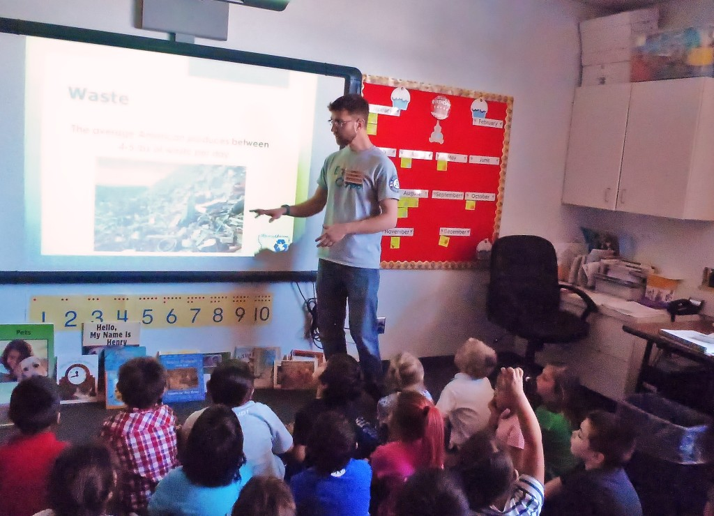 Recycle Montana's recycling educator Rob Pudner present's to students in Pablo!