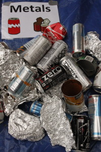 Recyclable metals sorted from trash