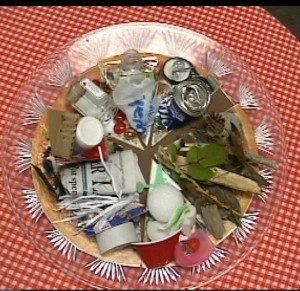 A garbage pizza used to display the types of material sent to the landfill.