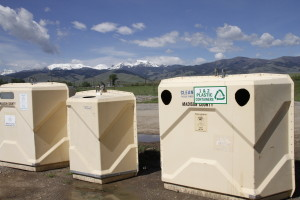 Recycling bins south of Cardwell, MT.